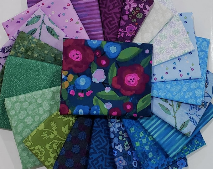 Featured listing image: Fabric Bundle Las Flores  designed by Nancy Rink for Studio 37 of Marcus Bros Fabrics - 20 Prints - Pick your cut