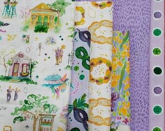 End of Bolt Fabric Bundle Dear Stella Mardi Gras Prints - 1.92 Yards