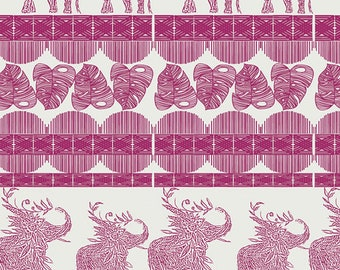 1/2 yard Art Gallery Indigo and Asters, Good Fortune in Cerise 24804 designed by Bari J