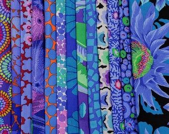 Philip Jacobs/ Kaffe Fassett  Fabric Bundle - Blue  Colorway  14 different fabrics