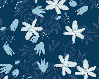 Clothworks Blue Goose, Floral  in Navy 3099 53 designed by Meags & Me - Sold in 1/2 yard increments