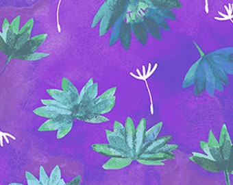 Clothworks Good Vibes Water Lilies in Purple 3120 27 designed by Sue Zipkin - Sold in 1/2 yard increments