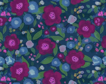 1/2 yard Las Flores 976 Blue designed by Nancy Rink for Studio 37 of Marcus Bros Fabrics