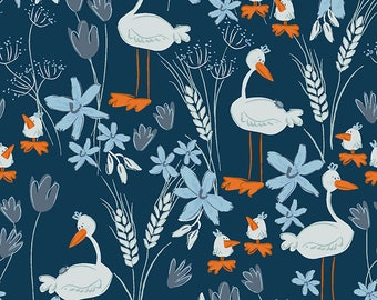 Clothworks Blue Goose, Geese in Navy Blue 3100 53 designed by Meags & Me - Sold in 1/2 yard increments