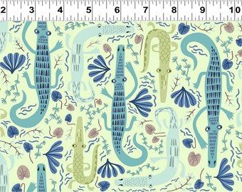 Clothworks Jungle Jive Alligators light Olive 3112 23 designed by Asa Gilland - Sold in 1/2 yard increments