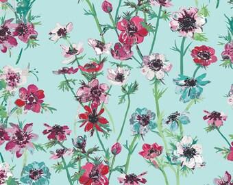 1/2 Yard Art Gallery Fabrics Aquarelle Anemone Study Morning 76752 designed by Katarina Roccella