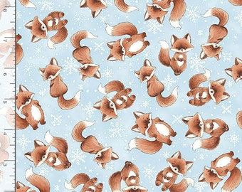1/2 Yard Timeless Treasure Snow Day Tossed Winter Foxes 7554 by Bunnies by the Bay