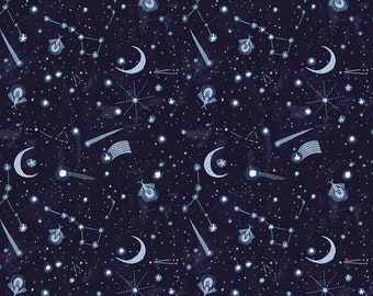 1/2 yard Dear Stella Lantern Light, Night Sky 1716 designed by Rae Ritchie