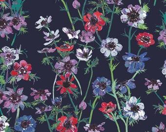 1/2 Yard Art Gallery Fabrics Aquarelle Anemone Study Midnight 66752 designed by Katarina Roccella