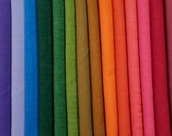 Fabric Bundle Kaffe Fassett/Alison Glass Woven Cottons - 16 colors  - 1/2 Yard cuts