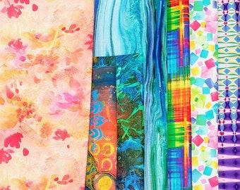 End of Bolt Fabric Bundle Bright Digital  Prints - 2 Yards