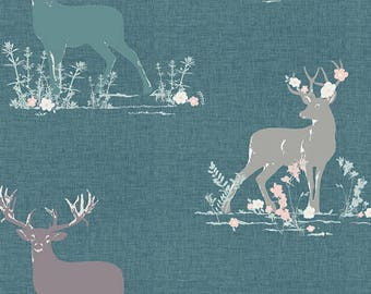 LAST yard Art Gallery Blithe Dear Deer in Teal 75602 designed by Katarina Roccella