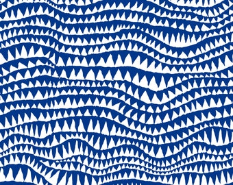 Shark's Teeth in Cobalt fabric designed by Brandon Mably BM060 for Kaffe Fassett - Sold in 1/2 yard increments