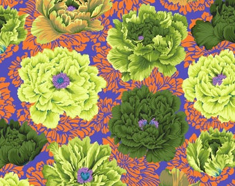 Brocade Peony in Moss fabric designed by Philip Jacobs PJ062 for Kaffe Fassett  - Sold in 1/2 yard increments