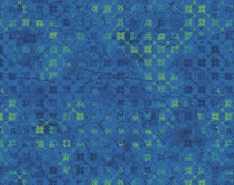 1/2 yard Las Flores 978 Blue designed by Nancy Rink for Studio 37 of Marcus Bros Fabrics