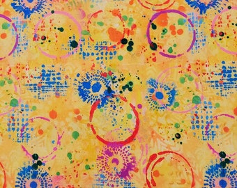 Free Spirit Pizzazz Graffiti in Lemon 021 designed by Sue Penn - Sold in 1/2 yard increments