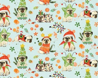 Dear Stella Bah Hum Pug,  1667 designed by Miriam Bos - Sold in 1/2 Yard Increments