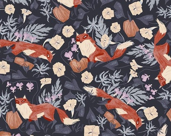 Dear Stella Toil and Trouble, Foxy in Graphite 1815 designed by Rae Ritchie - Sold in 1/2 yard increments