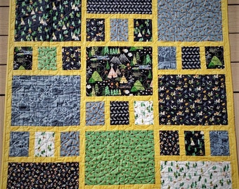 "Craftsman  Quilt - Finished Quilt 40"" x 47"".  Ready to Ship"