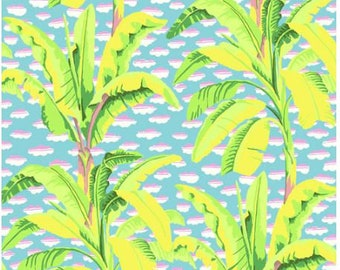 Banana Tree in Green fabric designed by Kaffe Fassett GP179  - Sold in 1/2 yard increments