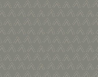 Clothworks Thistle Patch Double V in Dark Taupe 3067-63 designed by Teresa Magnuson - Sold in 1/2 yard increments