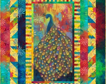 Extravagant Plumage Quilt Kit made up with Free Spirit Pizzazz fabric designed by Sue Penn