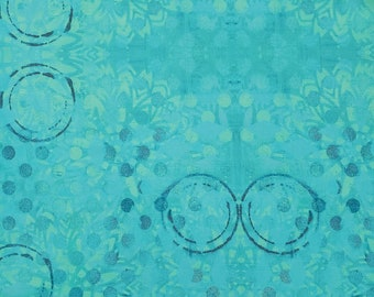 Free Spirit Pizzazz, Medallions Aquamarine 026 designed by Sue Penn  - Sold in 1/2 yard increments