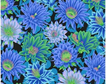 Cactus Flower in Cool fabric designed by Philip Jacobs PJ096 for Kaffe Fassett  - Sold in 1/2 yard increments