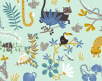 Clothworks Jungle Jive Animal Play in Light Turquoise 3111 100 designed by Asa Gilland - Sold in 1/2 yard increments