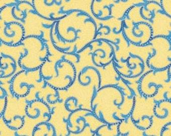 FQ Cut  of Arabella Yellow Scroll by Benartex