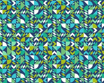 1/2 Yard Andover Collective Geometric in Teal  9437T designed by Libs Elliott