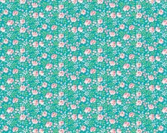 Free Spirit Fabrics Adelaide Grove Canberra Rose in Aqua 310  designed by Dena Designs - Sold in 1/2 yard increments