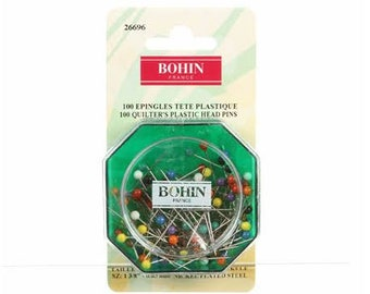 """Bohin Quilter's plastic head pins 100 count - 1 3/8"""""""