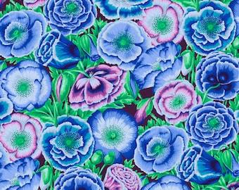1/2 yard Poppy Garden in Blue fabric designed by Philip Jacobs PJ095 Spring 2018