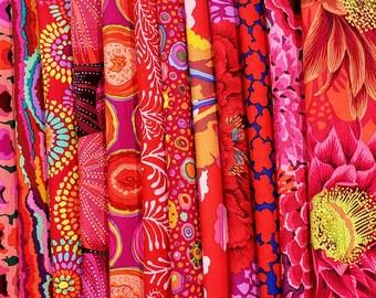 Philip Jacobs/ Kaffe Fassett  Fabric Bundle - Red  Colorway  14 different fabrics