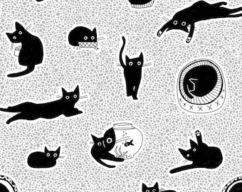 Dear Stella Les Chats Noirs, Chillin 1768 designed by Leezaworks - Sold in 1/2 yard increments