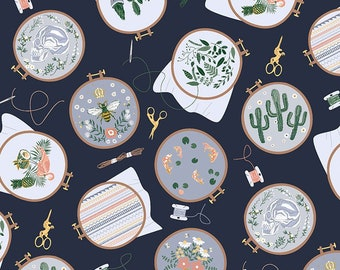 1/2 Yard Dear Stella Sew On and Sew Forth, Embroidery Hoops 1807