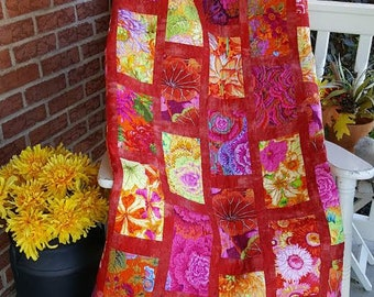 Flower Bed  Queen Size Quilt kit with Kaffe Fassett fabric.