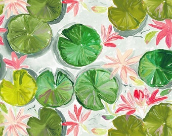Dear Stella Orangerie, Lily Pads 1856 designed by Caitlin Wallace Rowland - Sold in 1/2 yard increments
