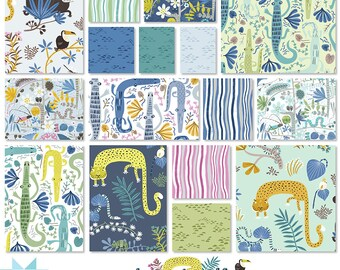 Fabric Bundle Clothworks Jungle Jive  designed by Asa Gilland  - 16 Prints - Pick your cut