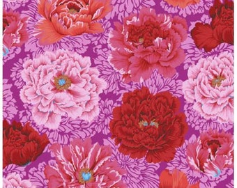 Brocade Peony in Hot fabric designed by Philip Jacobs PJ062 for Kaffe Fassett  - Sold in 1/2 yard increments