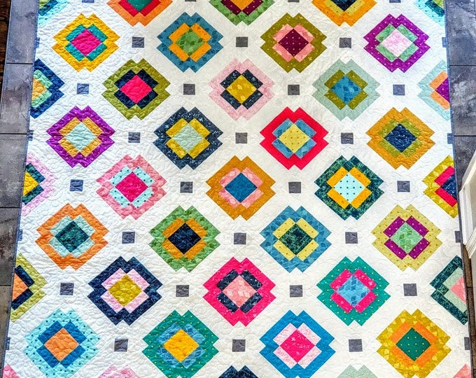 """Featured listing image: Radiate Quilt Kit using Matchmade from Art Gallery Fabrics - Finished Quilt - 73"""" x 91"""""""