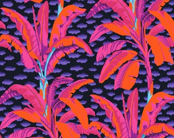 Banana Tree in Black fabric designed by Kaffe Fassett GP179  - Sold in 1/2 yard increments