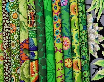 Kaffe Fassett Philip Jacobs Green Fabric Bundle -  14 different fabrics