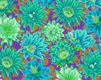 Cactus Flower in Emerald fabric designed by Philip Jacobs PJ096 for Kaffe Fassett  - Sold in 1/2 yard increments