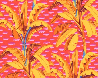 Banana Tree in Red fabric designed by Kaffe Fassett GP179  - Sold in 1/2 yard increments