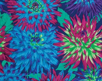 Cactus Dahlia Blue  Philip Jacobs fabric PJ054 - Sold in 1/2 yard increments