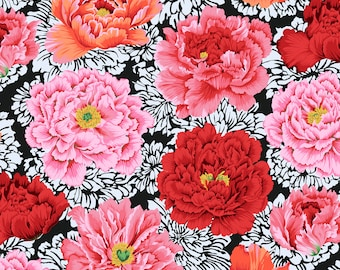 Brocade Peony in Crimson fabric designed by Philip Jacobs PJ062 for Kaffe Fassett  - Sold in 1/2 yard increments