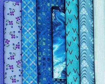 End of Bolt Fabric Bundle Variety of Blue/Aqua of prints - 2.8 yards plus 1 FQ