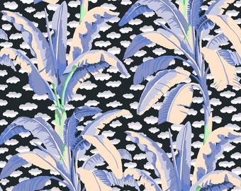 Banana Tree in Grey fabric designed by Kaffe Fassett GP179  - Sold in 1/2 yard increments